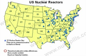 radiation nuclear reactors map of usa