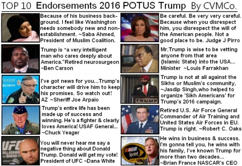 ! 1 Donald J Trump Endorsements